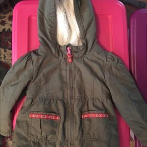 Olive green girls 3T fleece-lined fall coat